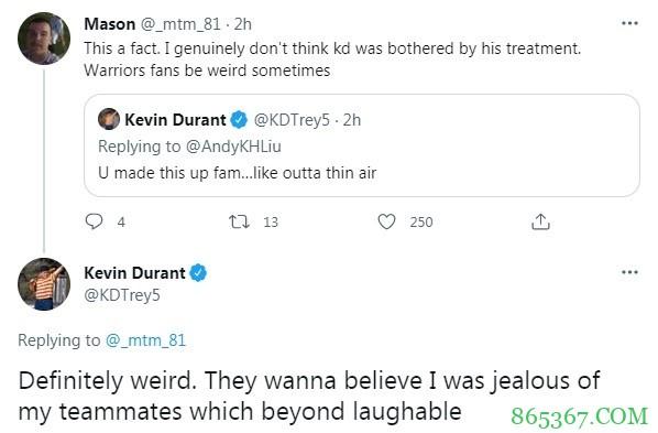 杜兰特:勇士球迷很奇怪 他们相信我会嫉妒我的队友