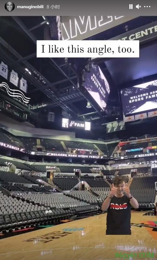 吉诺比利晒马刺主场照片:我感觉以前好像来过这儿😜